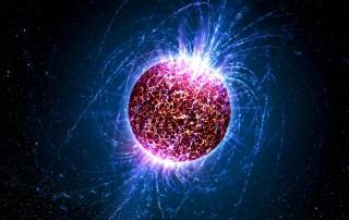 Ilustración de una estrella de neutrones.