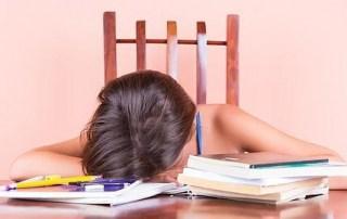 Niño dormido ante los deberes