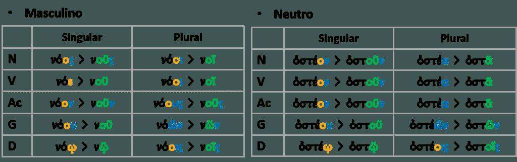 Paradigmas de los tipos contractos de la segunda declinación